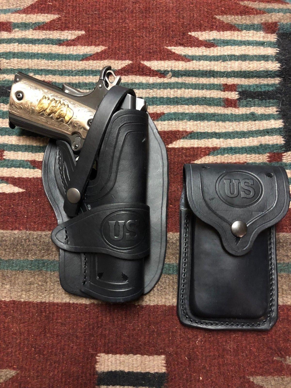 Se adapta a Colt 45 Modelo 1911 Negro Cuero Funda & Bolsa Wild Bunch estilo revista