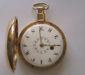 Stunning-Fusee-18k-Gold-Verge-KW-Enamel-Heinrich-Half-Hunter-Pocket-Watch-1798