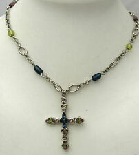 "Vintage 17+2.75"" LIA SOPHIA Cross Necklace w/ Rhinestones & Beads Silver Tone"