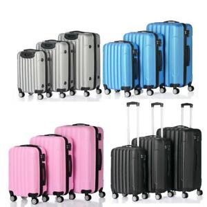 3 PCS Luggage Travel Set Bag wtih TSA Lock ABS Trolley Spinner Suitcase