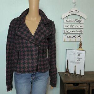 Yoki-Outerwear-LARGE-Fleece-Moto-Jacket-Purple-Black-Houndstooth-Zip-Pockets