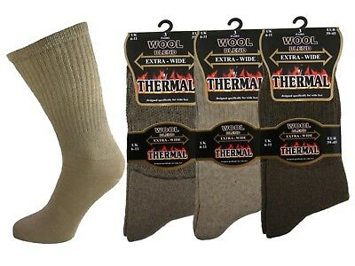 6 Mens Thermal Diabetic Extra-wide Wool Blend Wider Top Socks Uk 6-11