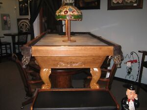 8039 USED MANCHESTER OAK POOL TABLE BRUNSWICK THE GAME ROOM