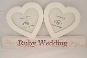 Ruby-Wedding-Photo-Frame-Twin-Hearts-Cream-40th-40-Years-Anniversary-F0890F