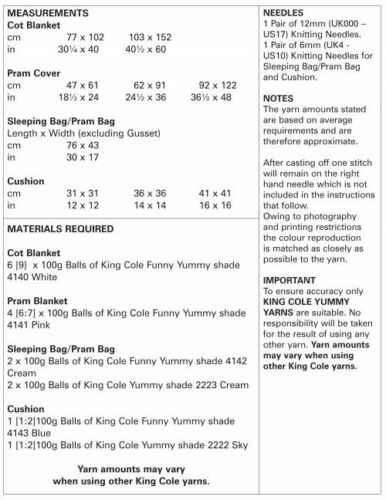 King Cole Knitting Pattern for Blankets /& CushionKnitted in Funny Yummy 5309