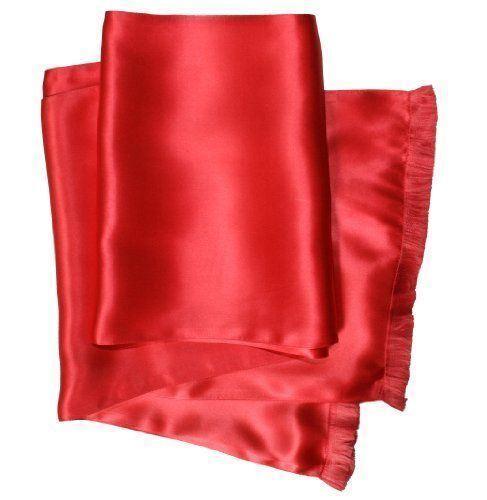 NEW Royal Silk® Bright Red Aviator Scarf 2-Layer Satin Silk