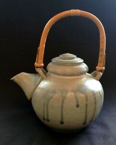Pottery-Blue-Grey-Drip-Glazed-Teapot-With-Bamboo-Handle-FREE-Delivery-UK