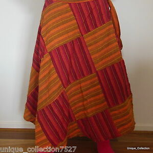 Womens-Skirt-Hand-Patched-Long-Free-Size-Light-Cotton-Wrap-Around-Casual-Skirt