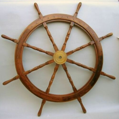 "47"" WOODEN SHIP WHEELNAUTICAL DECORK"