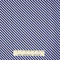 Fabric - Navy Blue & White Diagonal Pin Stripe - Timeless Treasures 25