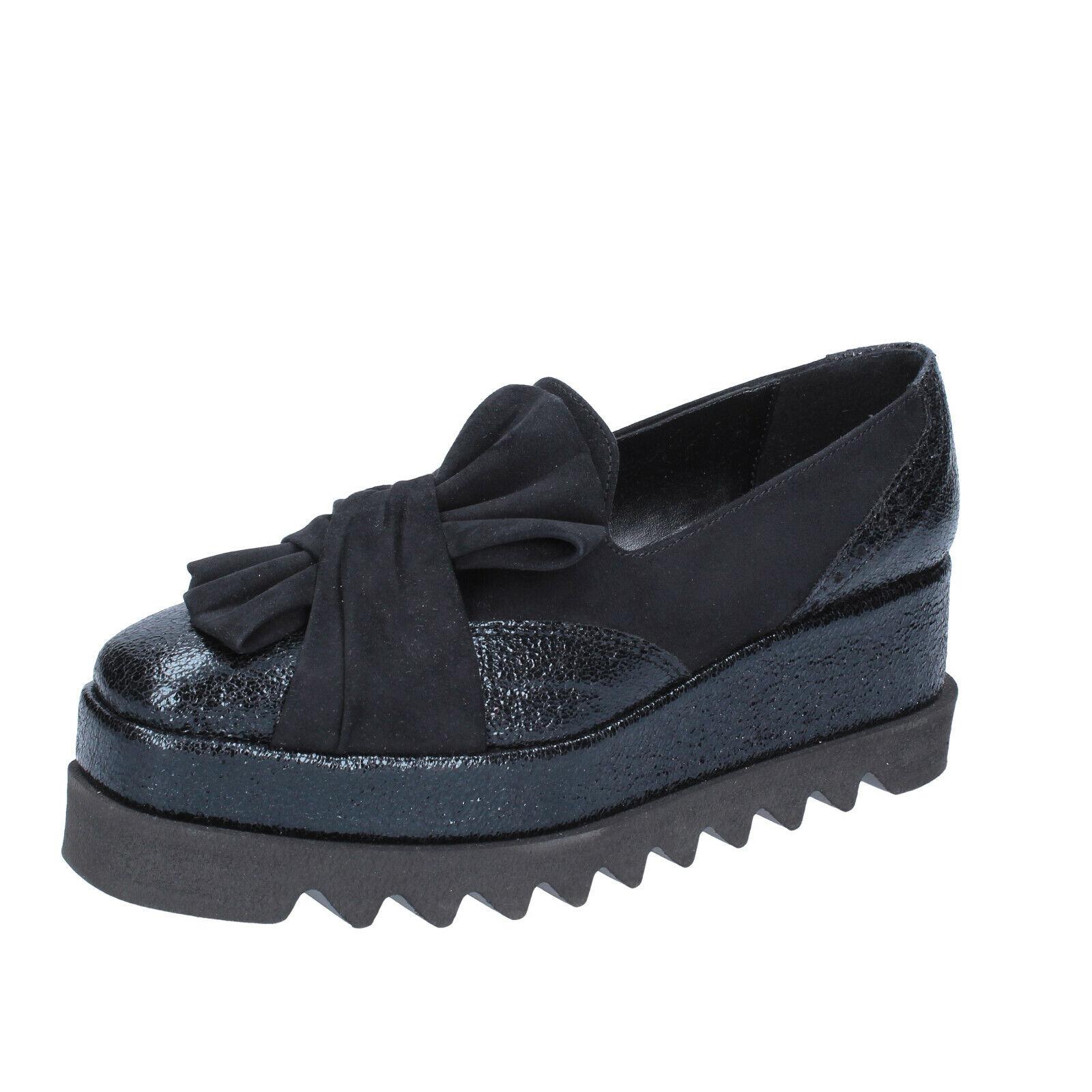 Chaussures femmes Olga Rubini 10 (UE 40) Mocassins en daim noir cuir BR149-40