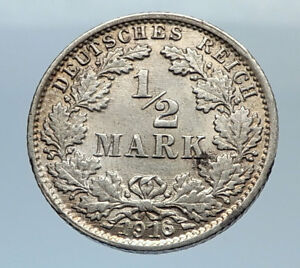 1910-WILHELM-II-of-GERMANY-1-2-Mark-Antique-German-Silver-Coin-Eagle-i71667
