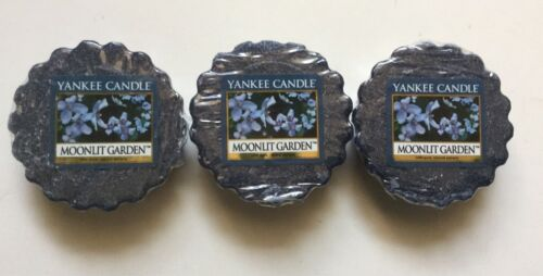 Yankee Candle MOONLIT GARDEN LOT OF 3 TARTS WAX MELTS FRESH SCENT HTF RETIRED