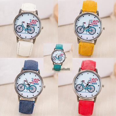 Women's Cute Bike Jean Fabric Bronze Band Quartz Analog Wrist Watch Colors New