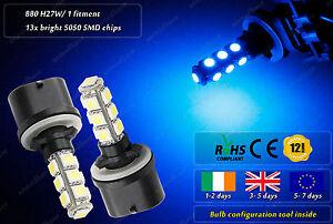 2x-880-H27W-1-LED-Xenon-Blue-Strobe-Police-Garda-Look-Flashing-Strobe-Bulbs-12v