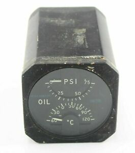 Oil-Pressure-amp-Temperature-Indicator-Gauge-6A-8414-RAF-Vintage-Aircraft-Spare