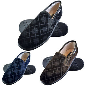 Dunlop-Mens-Plush-Fur-Lined-Memory-Foam-Checked-Moccasin-Hard-Sole-Slippers