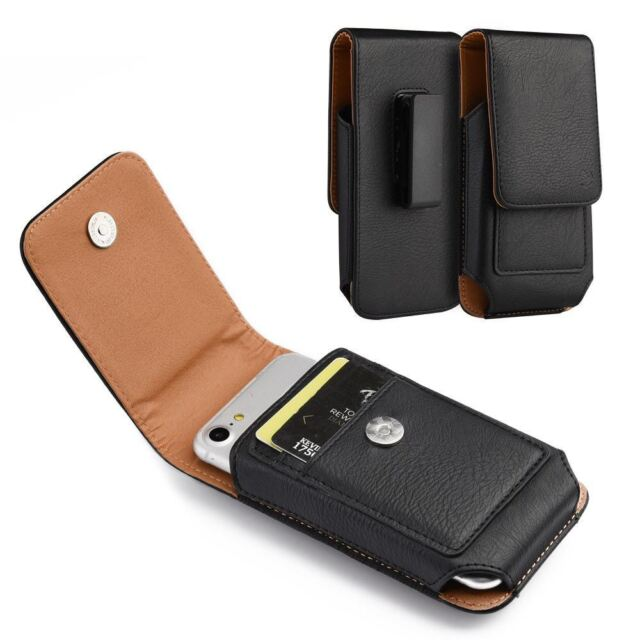 For Smart Phone Vertical Leather Belt Case w/ Rotatable Clip Holster Pouch Black