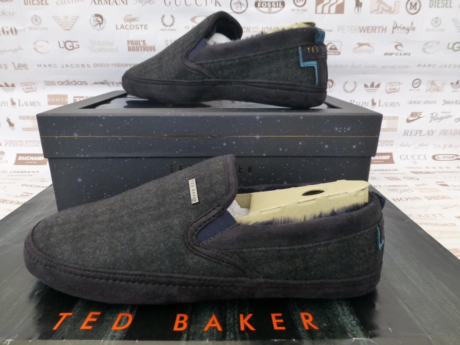 TED BAKER Check Slipper Mens Maten UK 10 Cosy Slip-On Dk Grey Slippers Box R