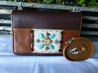 Brighton Leather Small Organizer Purse With Long Strap