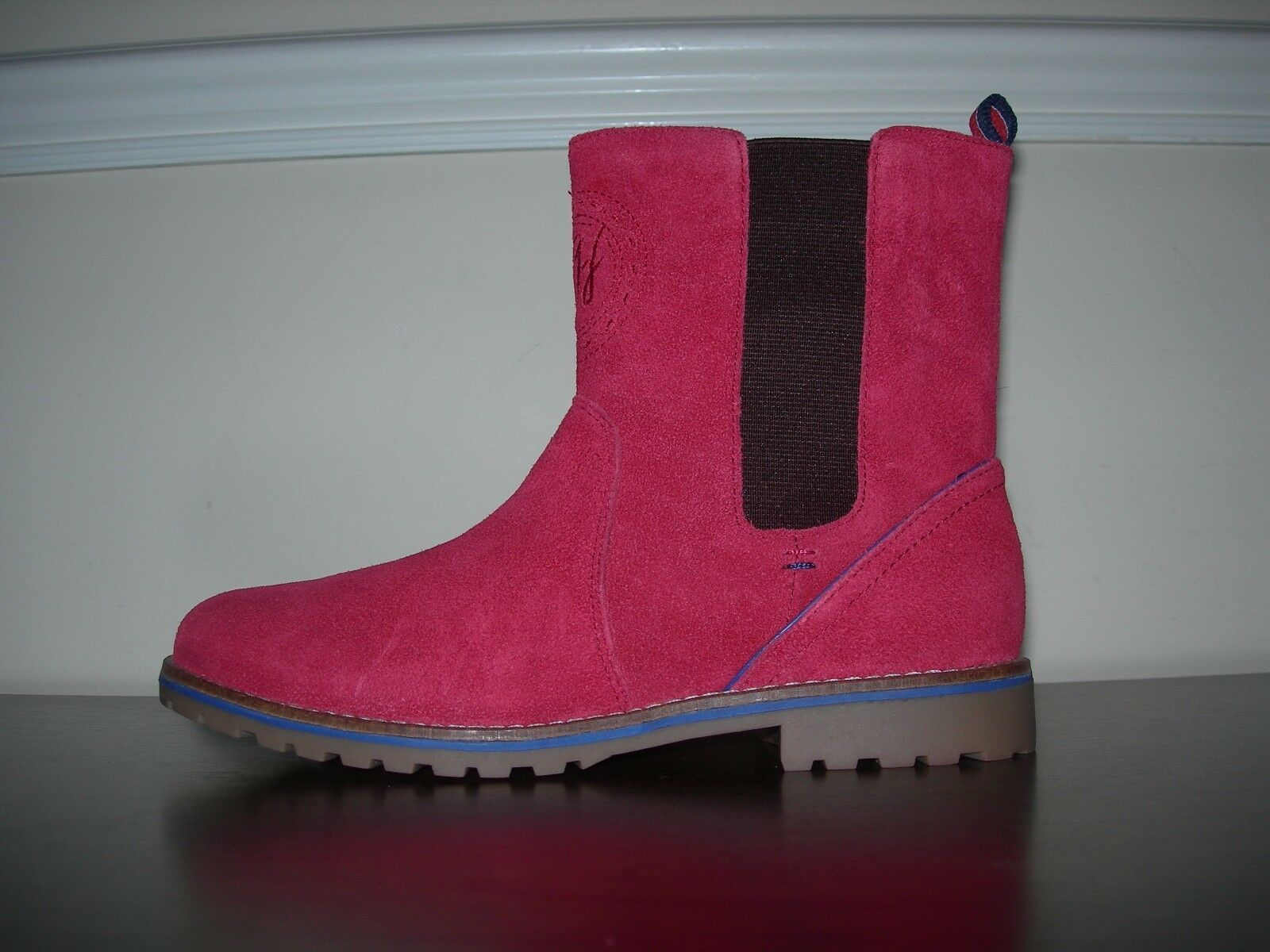 TOMMY HILFIGER WOMEN'S JUNIOR GIRLS ANKLE CHELSEA BOOTS ROT SUEDE EU 35 / UK 2.5