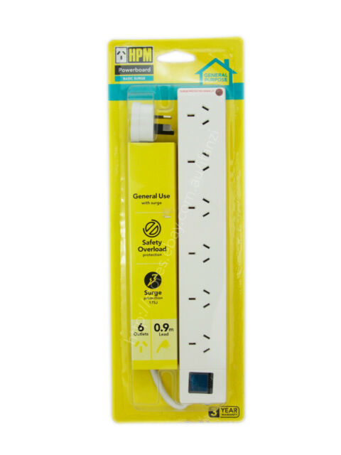 HPM 0.9m 6 Outlets Powerboard With Surge And Safety Overload Protection D105PA6