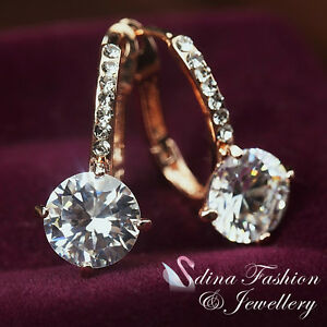 18K-Rose-Gold-Plated-Simulated-Diamond-2-0-Ct-Round-Cut-Hoop-Earrings