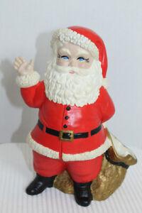 Vintage-1973-Duncan-Ceramics-Christmas-Santa-Claus-Toy-Sack-Bag-Figure-Planter