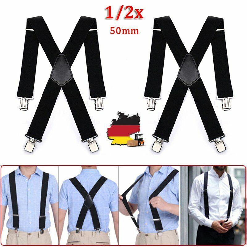 1/2x 50mm Herren Hosenträger 4 Clips Extra Breit X-Form Hosen Träger Elastisch