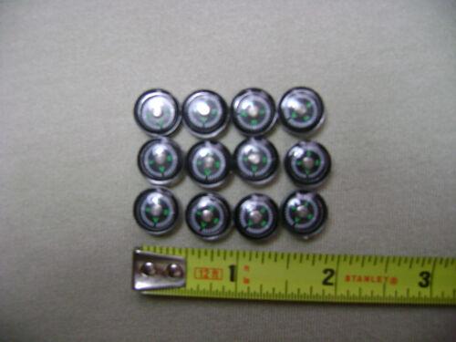 12x 12 mm noir et bouton vert compas NOUVEAU blanc Mini Slim Poche Petit