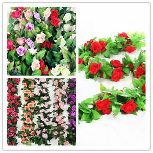 2X 8Ft Creative Garden String Decor Artificial Rose Garland Silk Flowers Vine UK