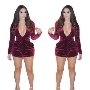 Sexy Women Long Sleeve V Neck Bodycon Club Party Casual Short
