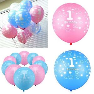 First Birthday Girl Boy Decoration Party Balloons Number 1 Printed