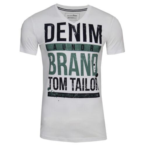 TOM TAILOR Denim Print V-Neck Tee Freizeit Sport Club T-Shirt Slim Fit