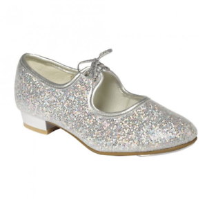 Tappers /& Pointers Girls Silver Glitter Tap Shoes Sizes 5 Junior To 5 Large