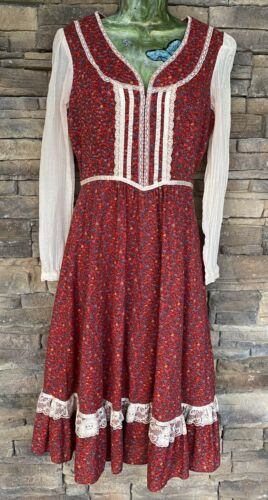 vintage 1970's Gunne Sax Style Cottagecore Dress … - image 1