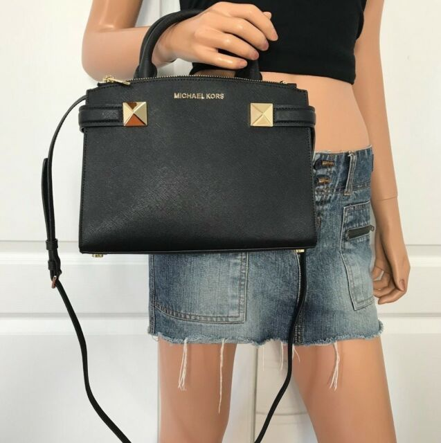 a667f270cdd8 Michael Kors Karla Black Saffiano Leather Small Satchel Crossbody Bag