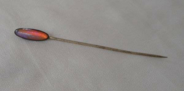 Antique Hat Stick Pin Sterling & Dragons Breath Fiery Opal