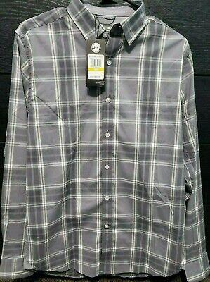 Under Armour Men/'s Gray Plaid UA Performance Woven Long Sleeve Button Down Shirt