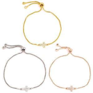 Fashion-Women-Cross-CZ-Rhinestone-3-Colors-Plated-Adjustable-Bracelet-Bangle