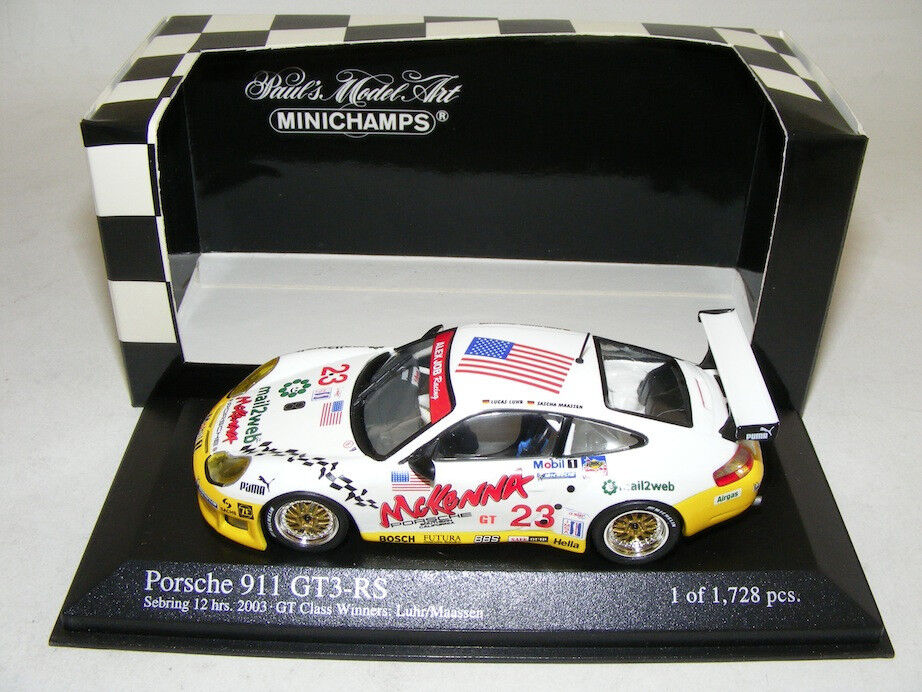 1 43 MINICHAMPS PORSCHE 911 GT3 RS ALEX JOB DE 2003 Classe Gagnant 12 Sebring