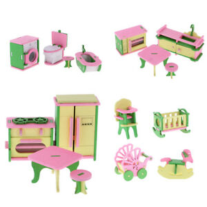 Lot 16pcs Wooden Doll House Miniature Furniture Kids Pretend Play