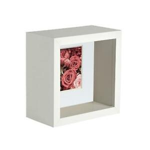 4 x 4 3D Box Frame Photo Picture Deep Display Shadow with 2 x 2 Mount White