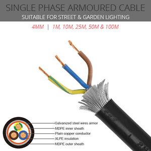 4mm 3 Core Coloured Cores Single Phase Swa Cable Per Metre