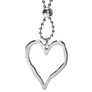 Lagenlook-silver-large-heart-style-pendant-96-cm-long-length-bead-chain-necklace