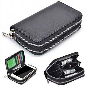 Black-Double-Zipper-Premium-PU-Leather-Wallet-Case-Cover-For-Samsung-Models