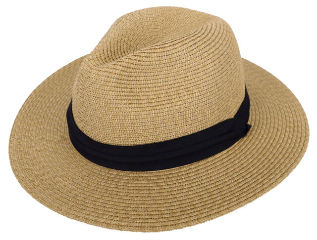 fa22b8e4606 Womens UPF50 Foldable Summer Straw Panama Hat Wide Brim Fedora Beach Sun Hat