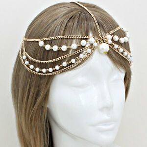 Hot-Statement-Celeb-Gold-Pearl-Head-Chain-Head-Band-TOWIE-By-Rocks-Boutique