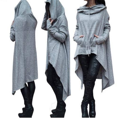 Women Asymmetric Loose Hoodie Long Hooded Tops Sweatshirt Sweater Blous US