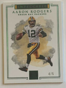 AARON-RODGERS-2017-PANINI-IMPECCABLE-80-EMERALD-SSP-039-d-4-5-Green-Bay-Packers